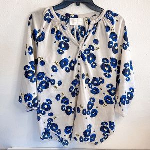 Yum I Kim Blue and Grey Floral Blouse
